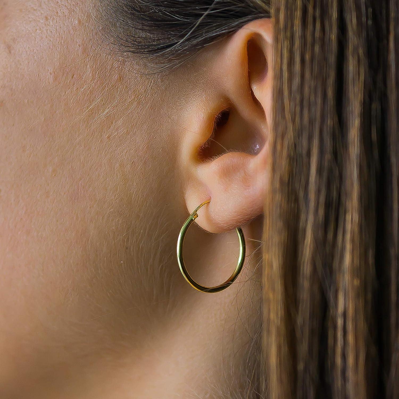 Galacci 14k Gold Plated Endless Hoop Sleeper Sterling Silver Hoop Earrings for Women