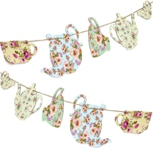 Tea Party Decoration Banner 2 Pack with 12 Pre-Strung Cups | Vintage Garden Teapot Decor | For Girls, Princesses, Parties, Bridal Showers, Birthday | Alice in Wonderland Party Garland Decor