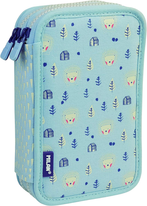 MILAN Plumier 2 Pisos con Contenido Berrywood Azul Estuches, 20 cm, Azul: Amazon.es: Equipaje
