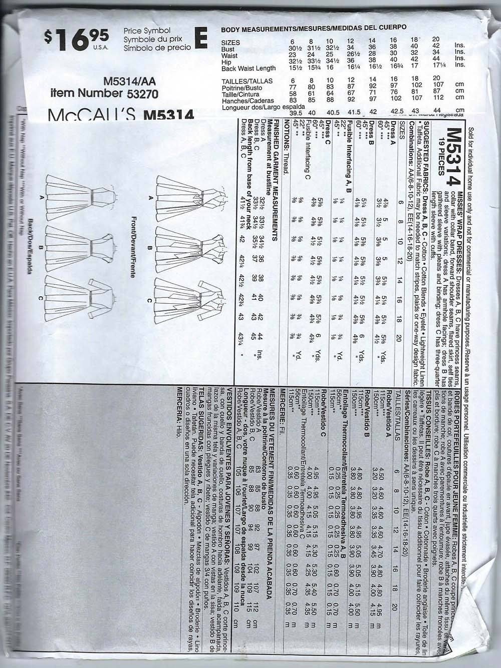 Amazon.com: Mccalls Sewing Pattern M5314 Misses Wrap Dress Size AA (6-8-10-12): Arts, Crafts & Sewing
