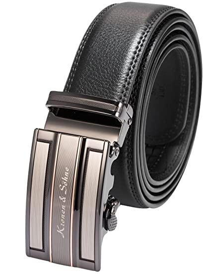 Mens Black Dress Fashion Leather Belt with Automatic Lock Stainless Steel Buckle