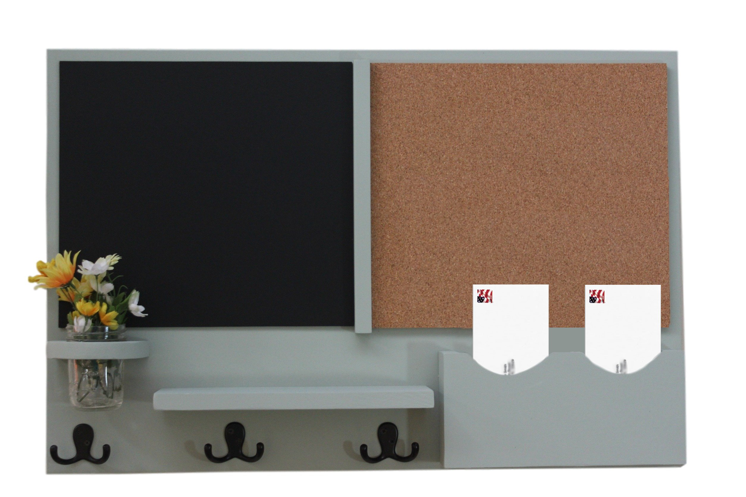 Legacy Studio Décor Message Center with Chalkboard & Cork Letter Holder Coat Rack Key Hooks (Smooth, Green Tea)