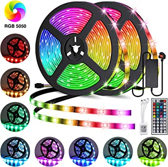 Led Strip Lights Kits Elfeland Strips Lighting 10m 300leds Rgb 5050 Color Changing Ip65 Waterproof 12v Power Adapter 44 Key Ir Remote Control Led Light Strip For Garden Bar Party Home Decorations 2x5m