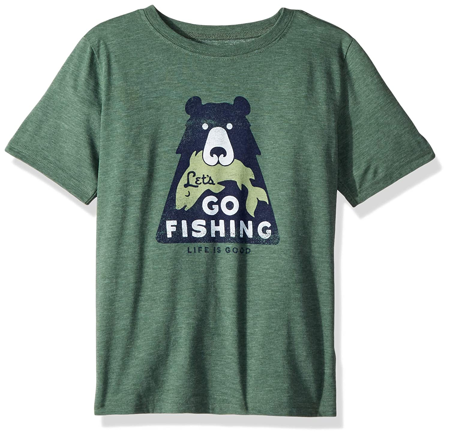 Lets Go Fishing Boys Cool Tee Life is Good Forest Green