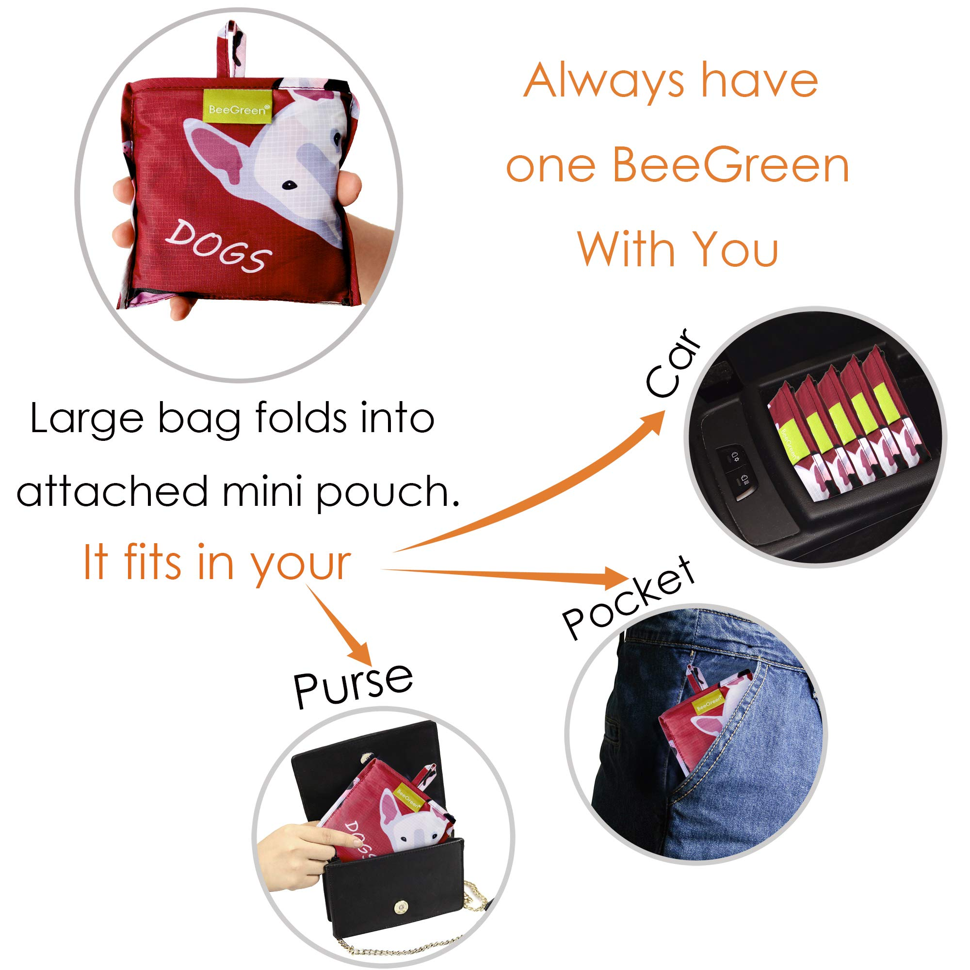 Grocery Bags Reusable Foldable 6 Pack Shopping Bags Large 50LBS Cute Groceries Bags with Pouch Bulk Ripstop Waterproof Machine Washable Eco-Friendly Nylon Elephant Hedgehog Cat Turtle Dog Penguin by BeeGreen (Image #6)