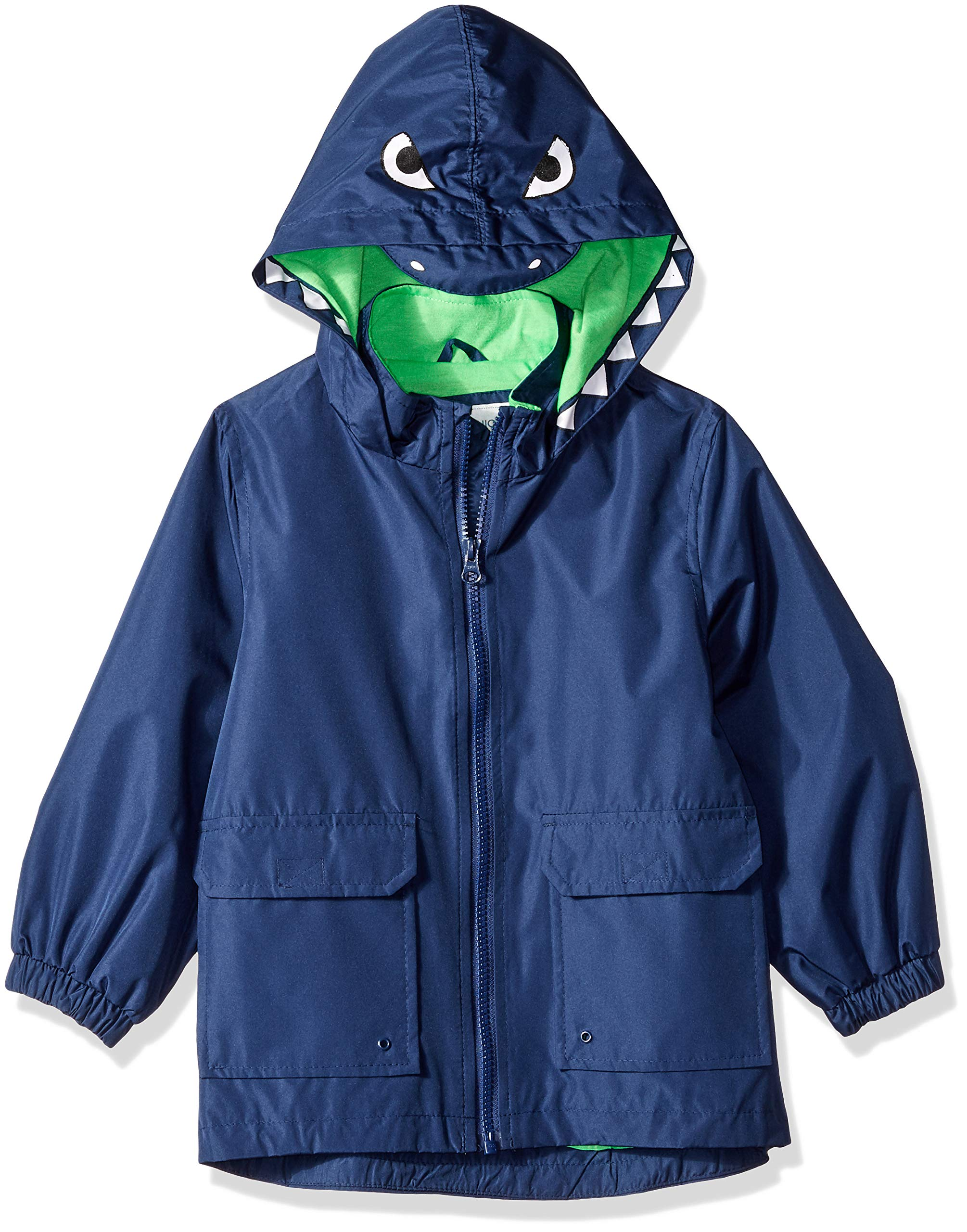 Carter's Little Boys' Critter Rainslicker Lightweight Rain Jacket, Navy Dinosaur, 4T