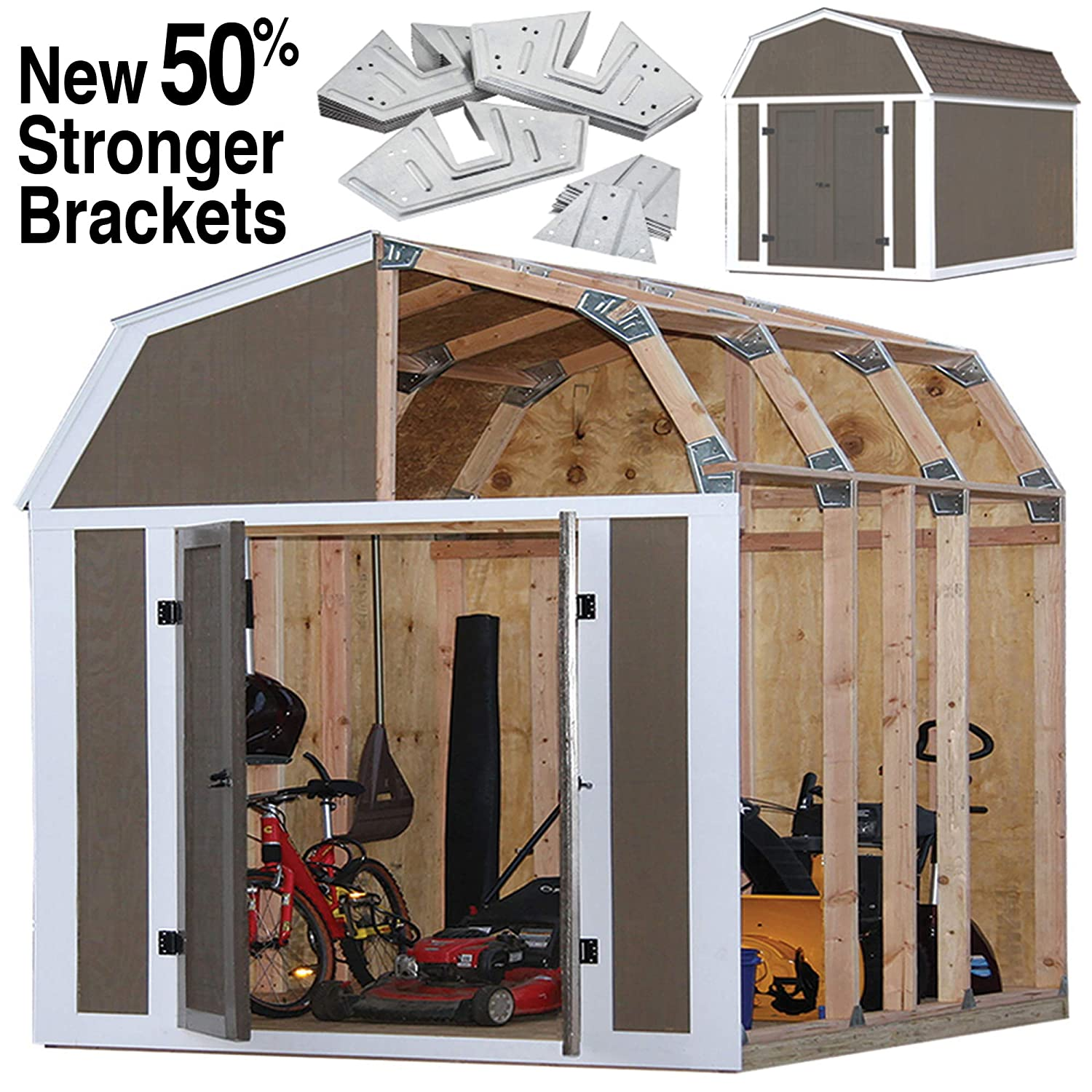Amazon com ez shed 70188 barn style instant framing kit garden outdoor