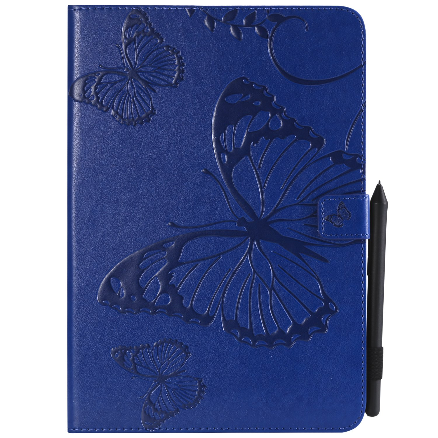 Shinyzone Tablet Leather Case for Samsung Galaxy Tab A 9.7 T550,Embossed Navy Blue Butterfly Pattern with Credit Card Slots and Pencil Holder,Auto Sleep and Wake Function Magnetic Flip Stand Cover