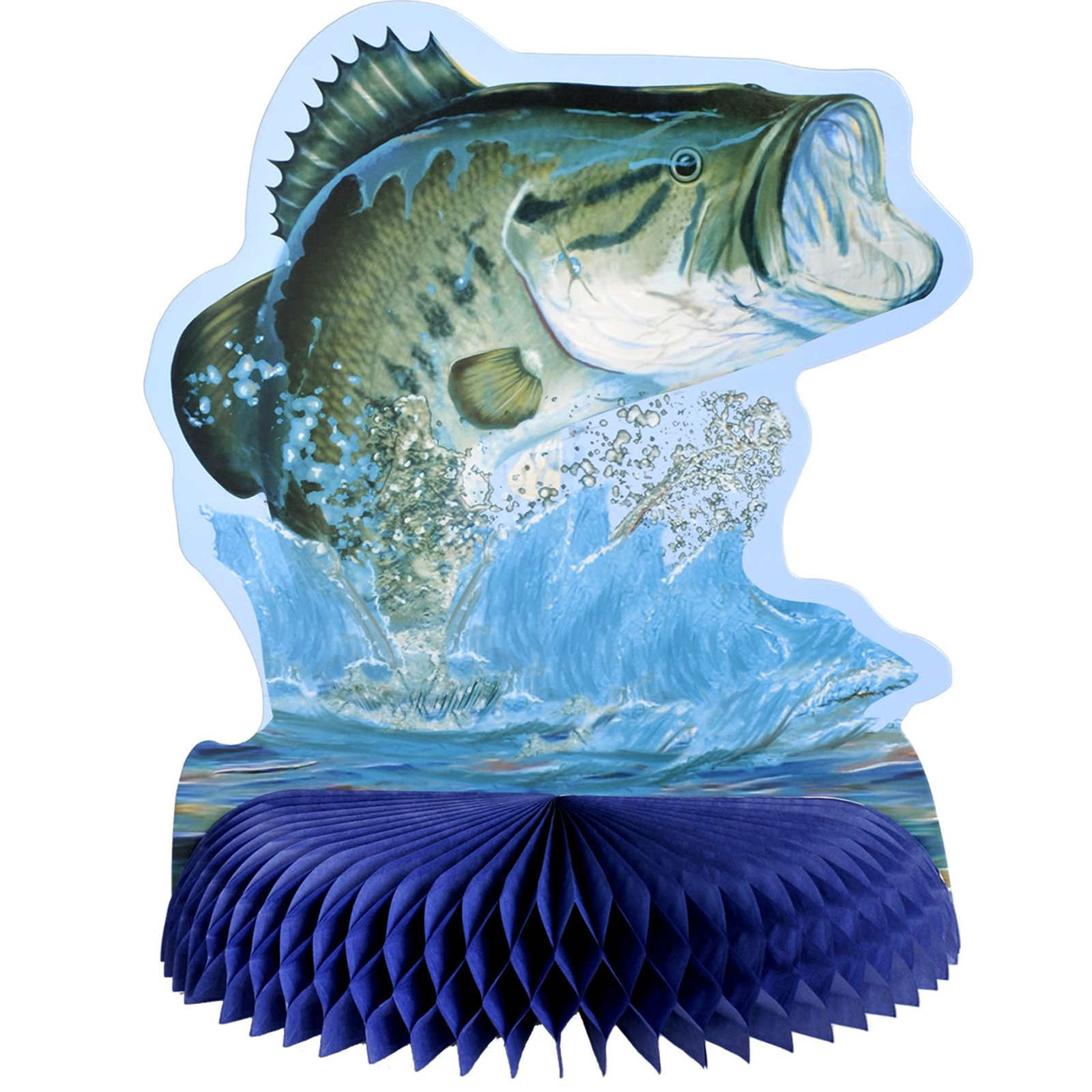 14'' Gone Bass Fishing Theme Party Table Decoration Honeycomb Centerpiece by Havercamp