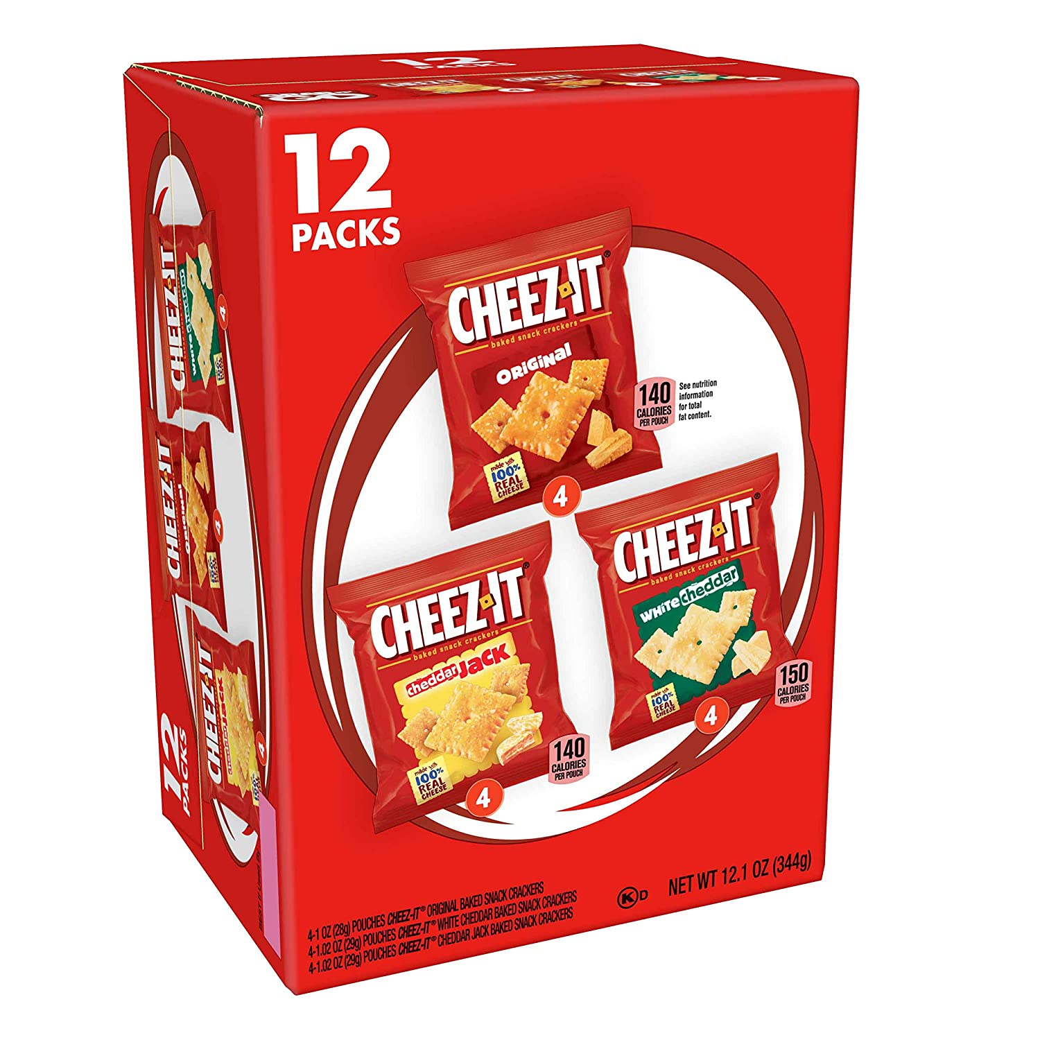 Cheez-It Baked Snack Cheese Crackers, Variety Pack, Original, White Cheddar, Cheddar Jack, 1.02 oz Bags (12 Count)