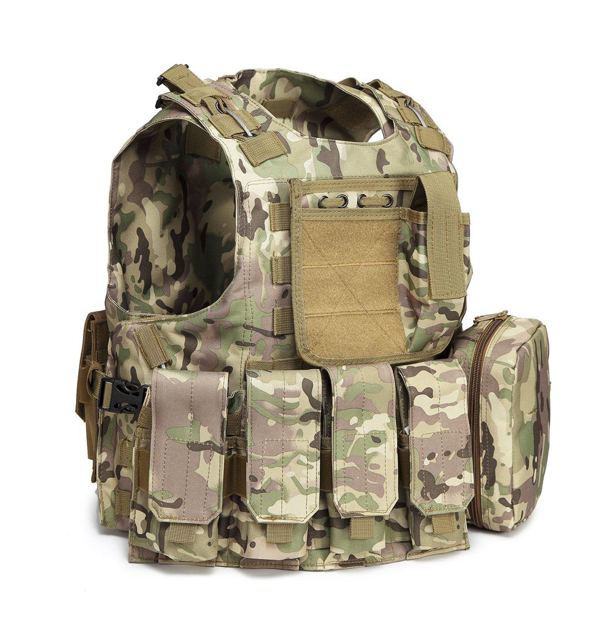 Gharpbik Tactical Vest Training Airsoft CS Vest Molle Camouflage Ultra-light Breathable Adjustable Combat Military