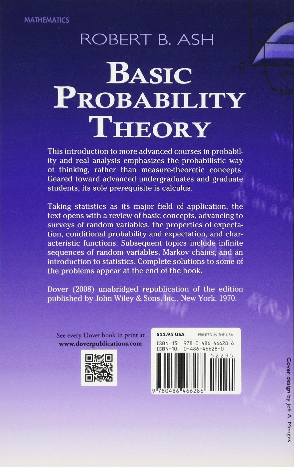 Basic Probability Theory (dover Books On Mathematics): Robert B Ash:  9780486466286: Amazon: Books