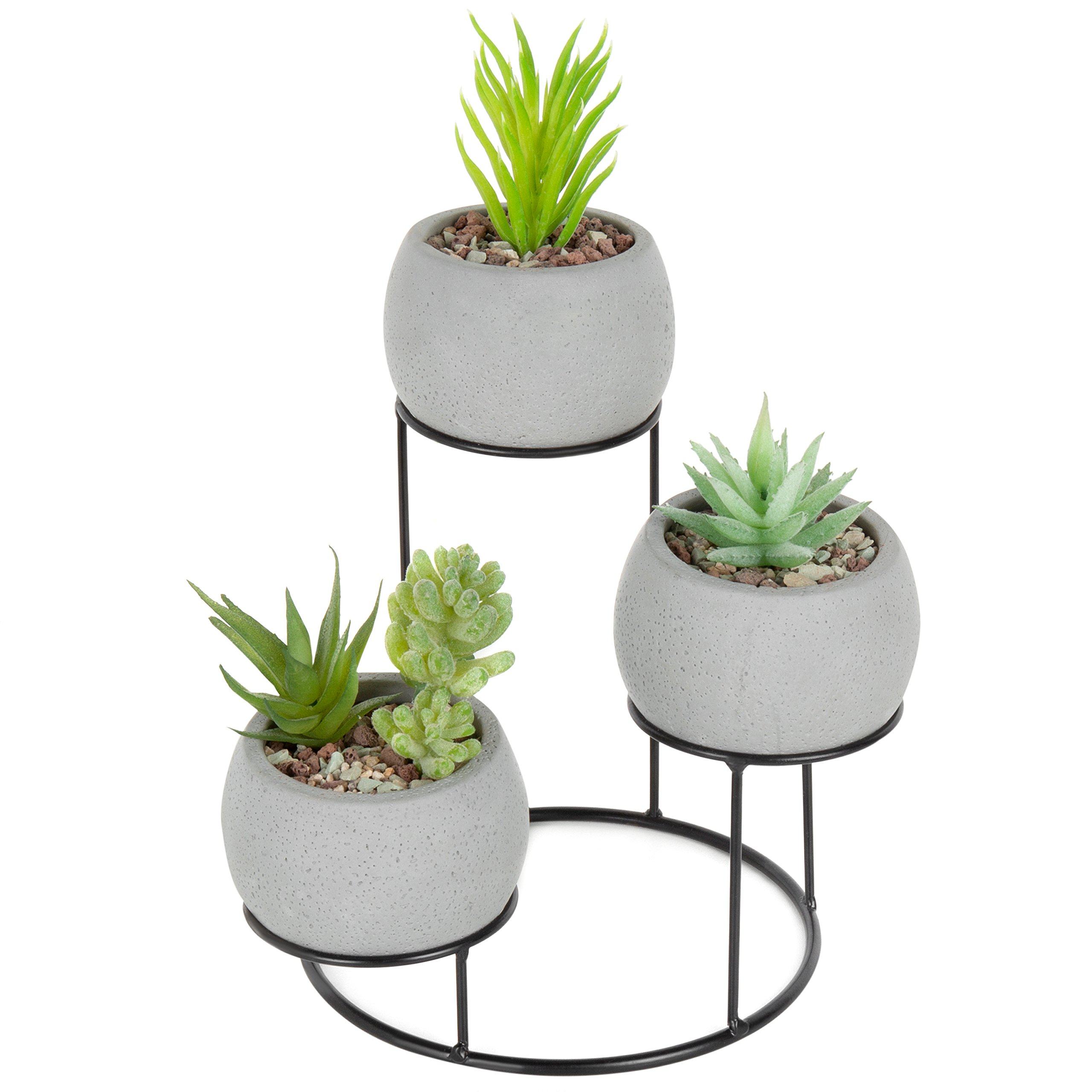 MyGift Set of 3 Cement Gray Succulent Planters with Metal Display Stand