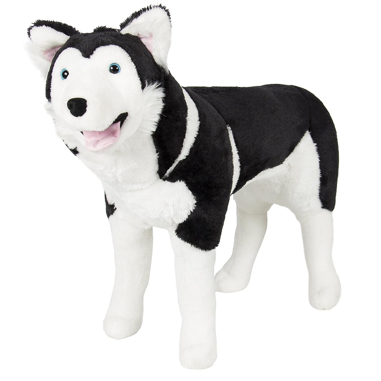 Best Choice Products Large Soft Plush Realistic Stuffed Animal Husky Dog Wolf Toy Pillow Pet Black White