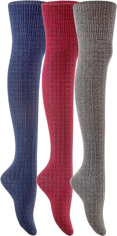 Lian LifeStyle Women's 3 Pairs Fashion Thigh High Cotton Socks JMYP1025-2 Size 6-9(US)