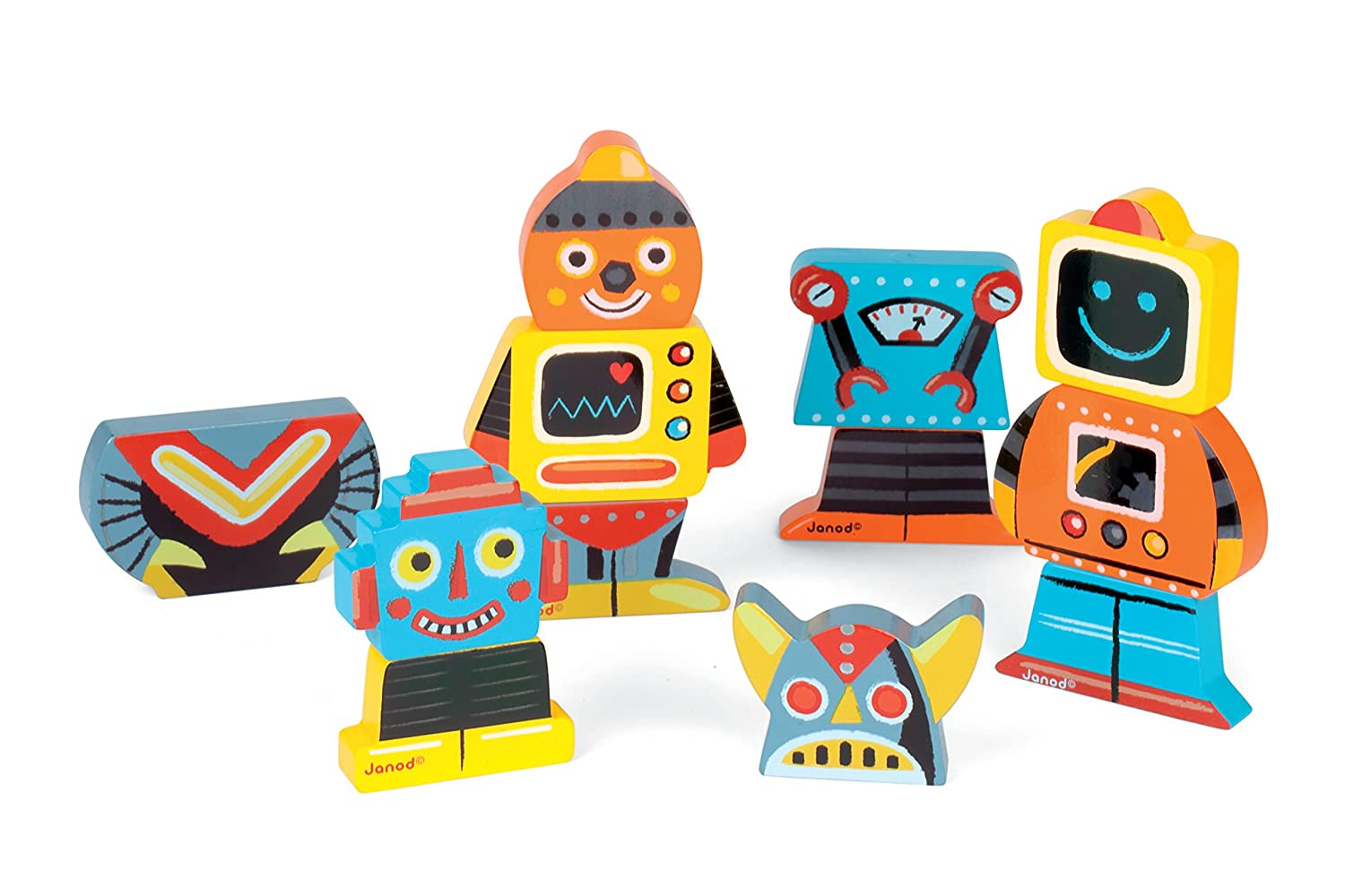 Houten Garage Janod : Amazon janod robots magnets toys games