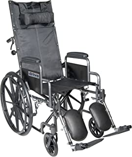 Drive Medical Silver Sport Reclining Wheelchair with Detachable Desk Length Arms and Elevating Legrest Silver  sc 1 st  Amazon.com & Amazon.com: Medline Reclining Wheelchair 20