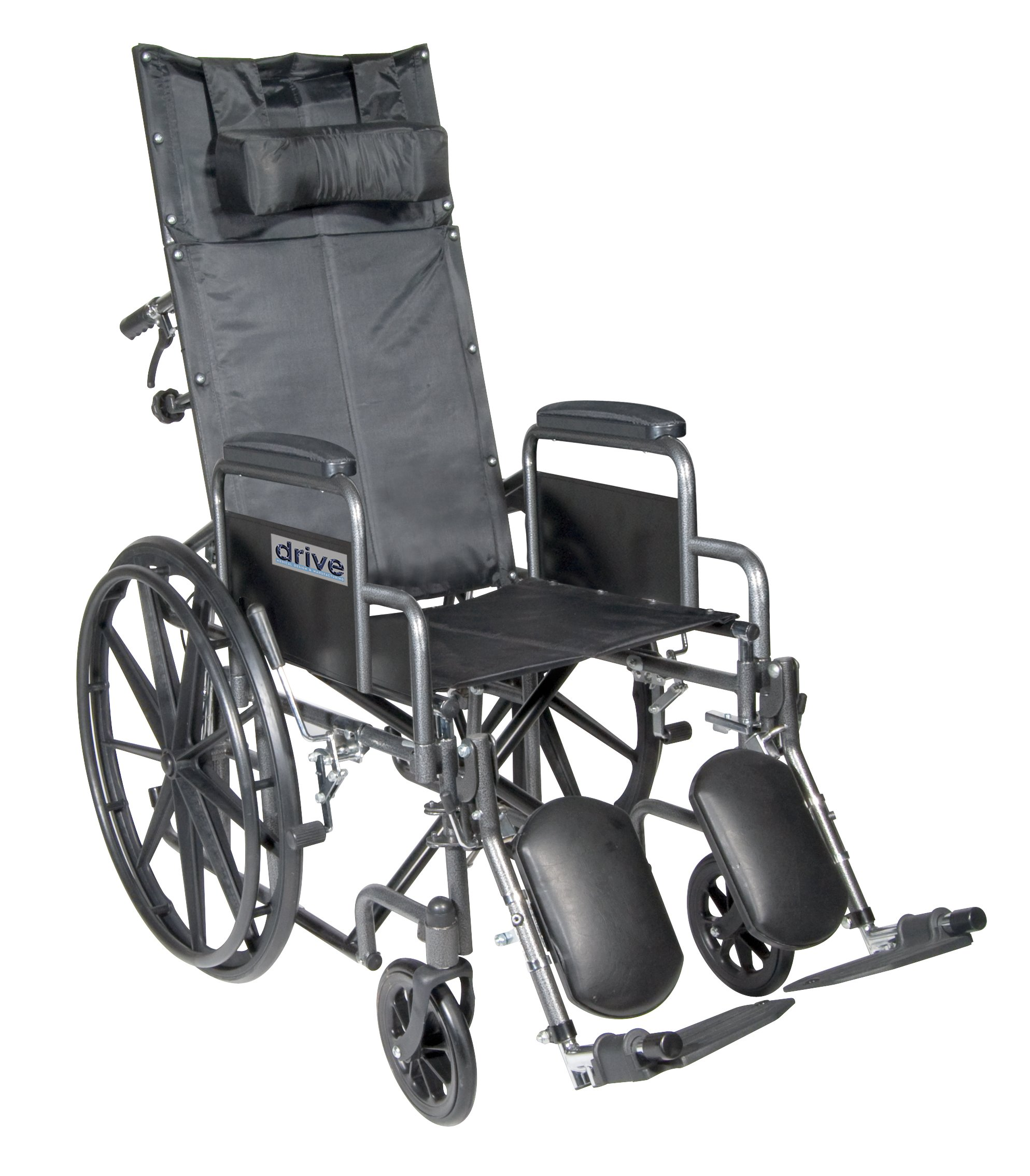Drive Medical Silver Sport Reclining Wheelchair with Detachable Desk Length Arms and Elevating Legrest, Silver Vein, 18''