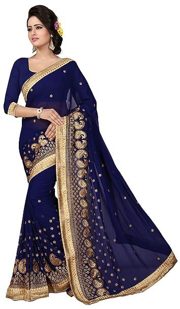 India de Bollywood Sari Oro Frontera de Paisley Diseñador Partido étnico Vestido Sari