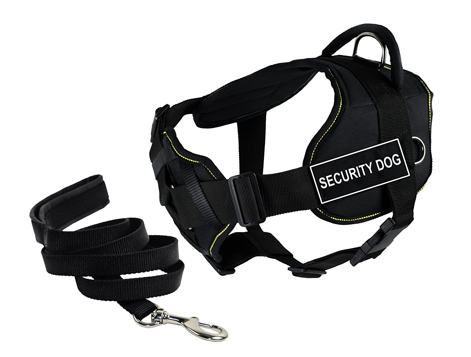 Dean & Tyler's DT Fun Chest Support SECURITY DOG Harness, Large, with 6 ft Padded Puppy Leash.
