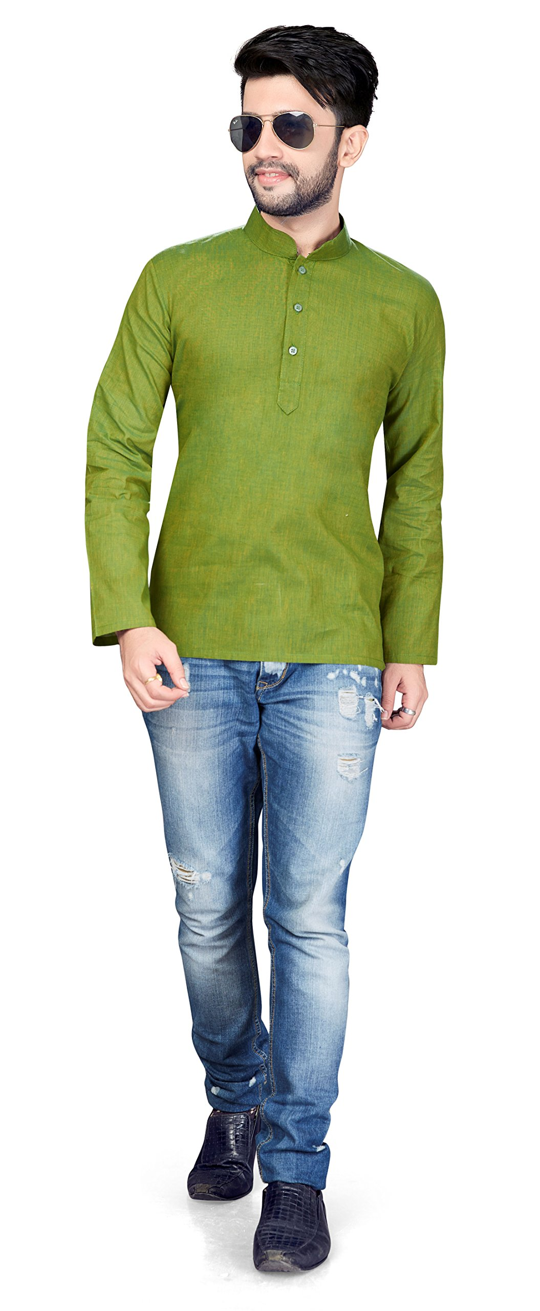 TrendyFashionMall Short Cotton Kurta For Men Olive Med-40