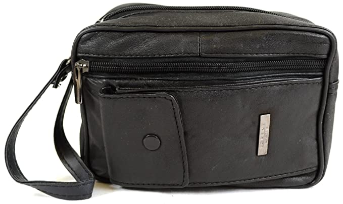 a4133d074a Mens Super Soft Nappa Leather Bag with Wrist Strap and Multiple  Compartments  Amazon.co.uk  Clothing