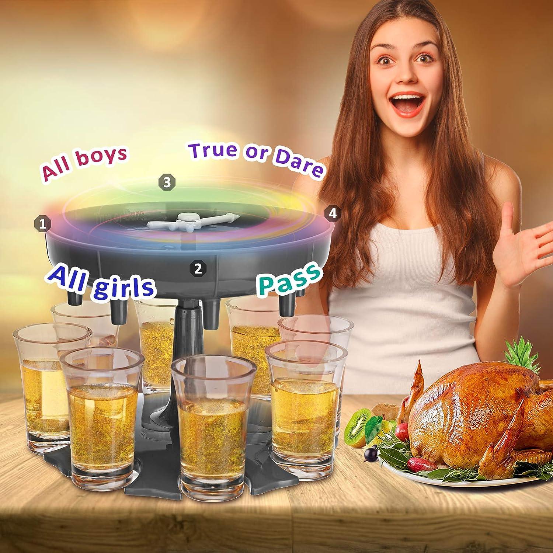 8 Shot Glass Dispenser, Drink Dispenser with Slogan and Holder, Beverage Dispenser for Filling Liquids Cocktail Liquor Carrier Gifts Bar Shot Dispenser for Parties (Gray)