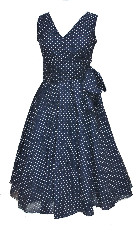 Vintage Retro Style Navy Polka Dot Full Circle Lightweight Cotton Dress