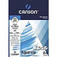 Fila Canson Bloco Para Educação Artística Aquarela A4 12 Folhas, Branco