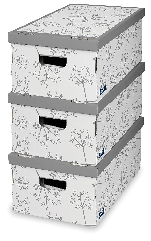 Domopak Living 914575 Cajas De Cart N Bon Ton Juego De 3  ~ Cajas Plastico Almacenaje Baratas