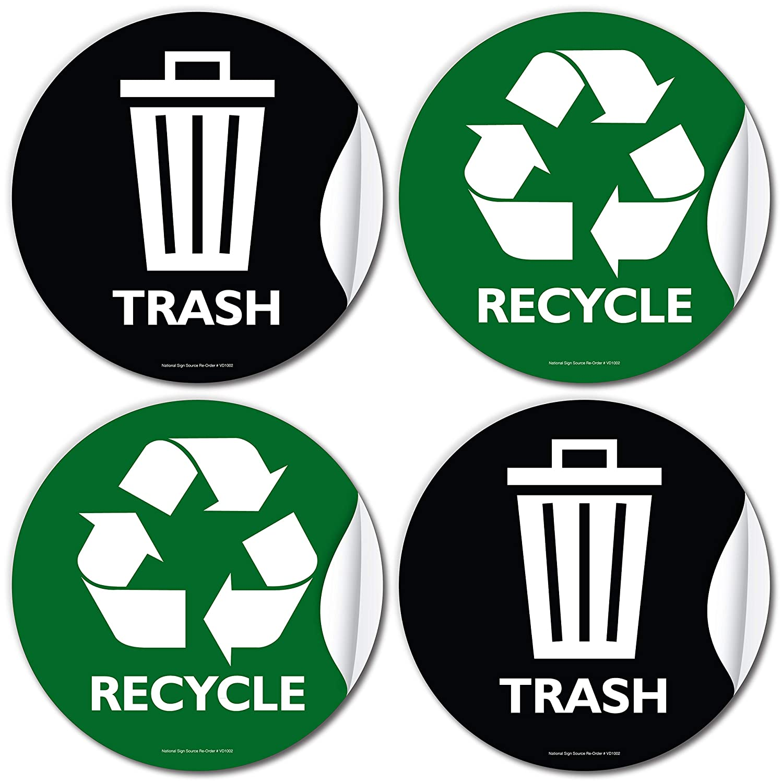 Recycling Waste Bin Stickers Home Waterproof Sign sticker Decals Outdoor
