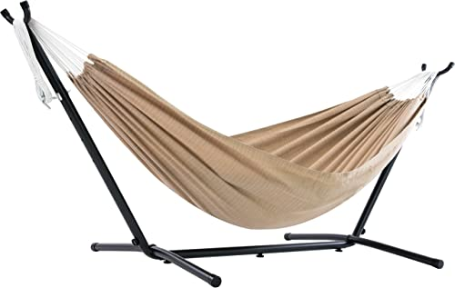 Vivere Double Sunbrella Hammock with Space-Saving Steel Stand, Sand Renewed