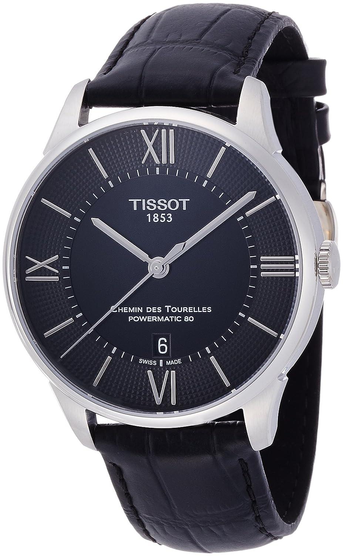 [ティソ] TISSOT 腕時計 シュマンデトゥレル オートマティック パワーマティック80 ブラック文字盤 レザー T0994071605800 メンズ 【正規輸入品】 B011QUKT08