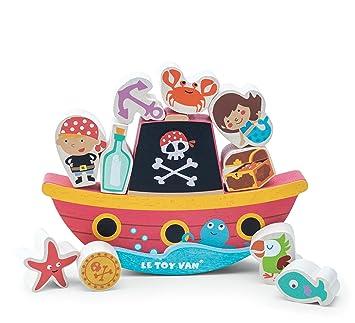 Le Toy Van - Barco de Equilibrio Pirata de Madera Rock N: Amazon.es: Juguetes y juegos