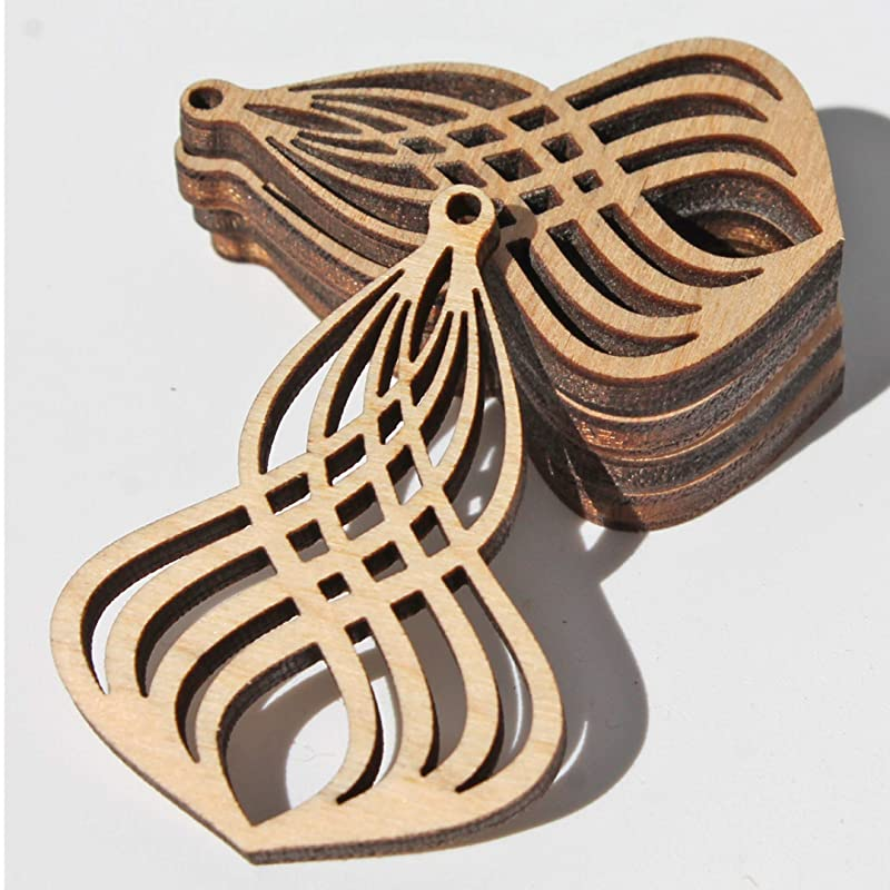 10 Pieces DIY Unfinished Laser Cut Natural Wood Earrings Blanks Bible Shape Wood Jewelry- Wood Shapes
