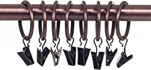 Lavish Home Curtain Rod Ring Clips,1.25-Inch, Copper, Set of 8
