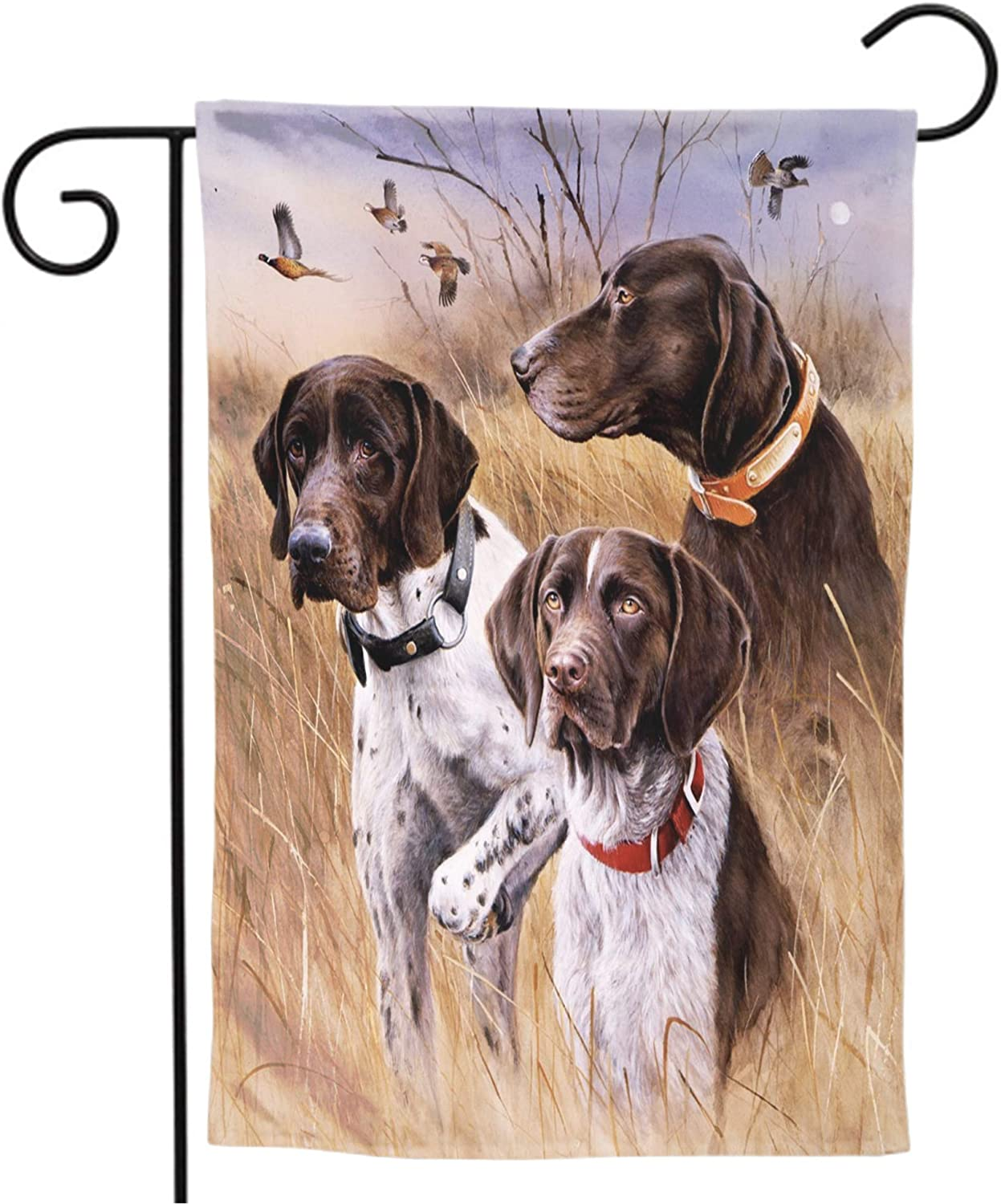 Granbey German Shorthaired Pointer Garden Flag Autumn Duck Hunting Print Yard Flag Vertical Readable Double Sided Small House Flags Yard Banner Welcome Dog Garden Flags