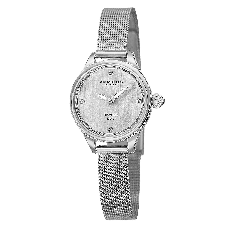Akribos XXIV Women s Diamond Watch – 4 Genuine Diamond Hour Markers with Luminescent Hands On Stainless Steel Mesh Bracelet – AK873