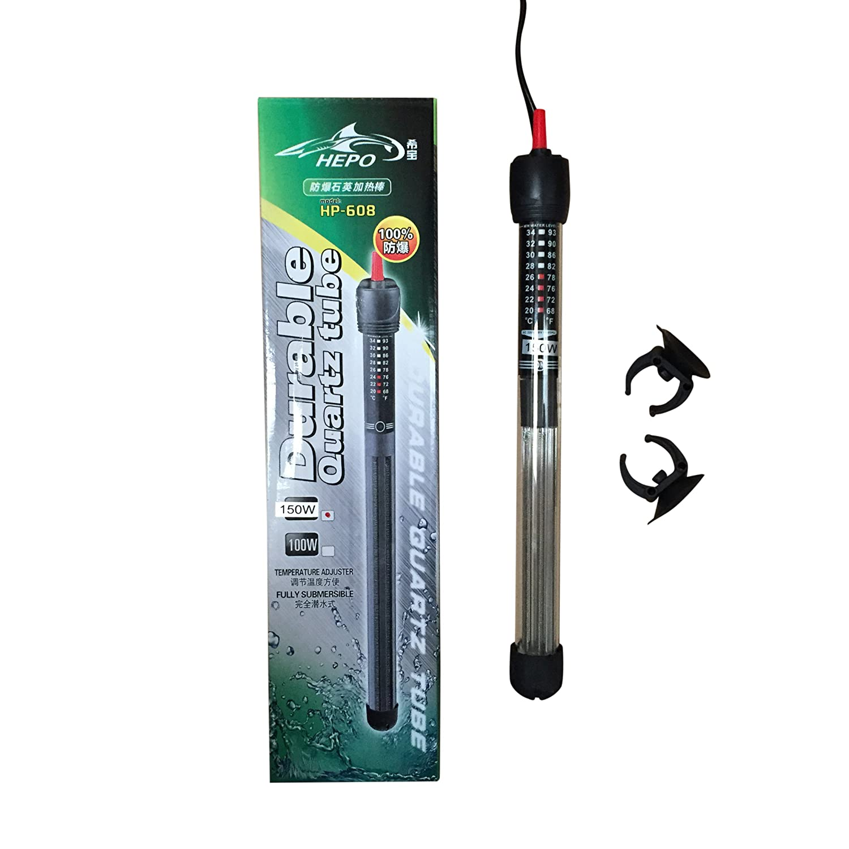 Hepo HP-608 Quartz Aquarium Fish Tank Heater Submersible Thermostat 25w to 300w (300w)