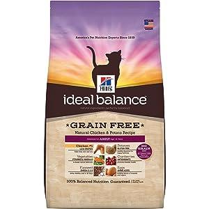 Hill'S Ideal Balance Adult Grain Free Cat Food, Natural Chicken & Potato Recipe Dry Cat Food