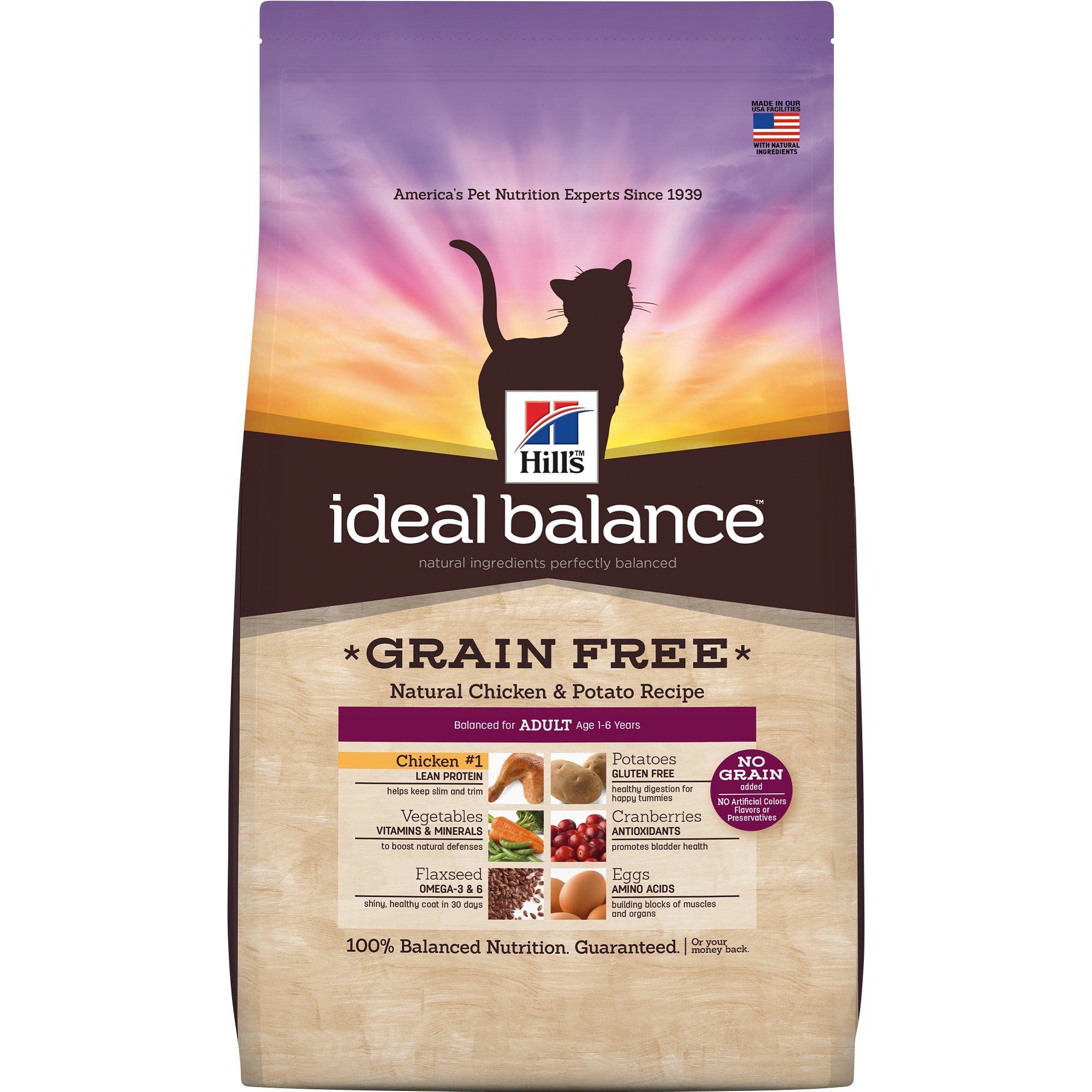 Hill'S Ideal Balance Adult Grain Free Cat Food, Natural Chicken & Potato Recipe Dry Cat Food, 11 Lb Bag