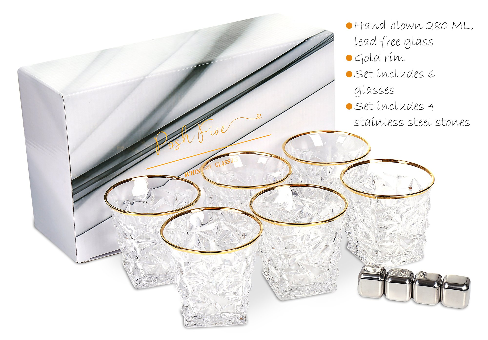 Posh Five Whiskey Glasses Set of 6 Diamond Scotch Glasses + 4 Stainless Steel Whiskey Stones by Posh Five Trading Co (Image #6)