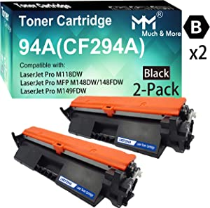 (2-Pack, Black) Compatible 294A CF294A Toner Cartridge 94A Used for HP Laserjet Pro M118dw MFP M148dw MFP M148fdw M149fdw Printer, by MuchMore