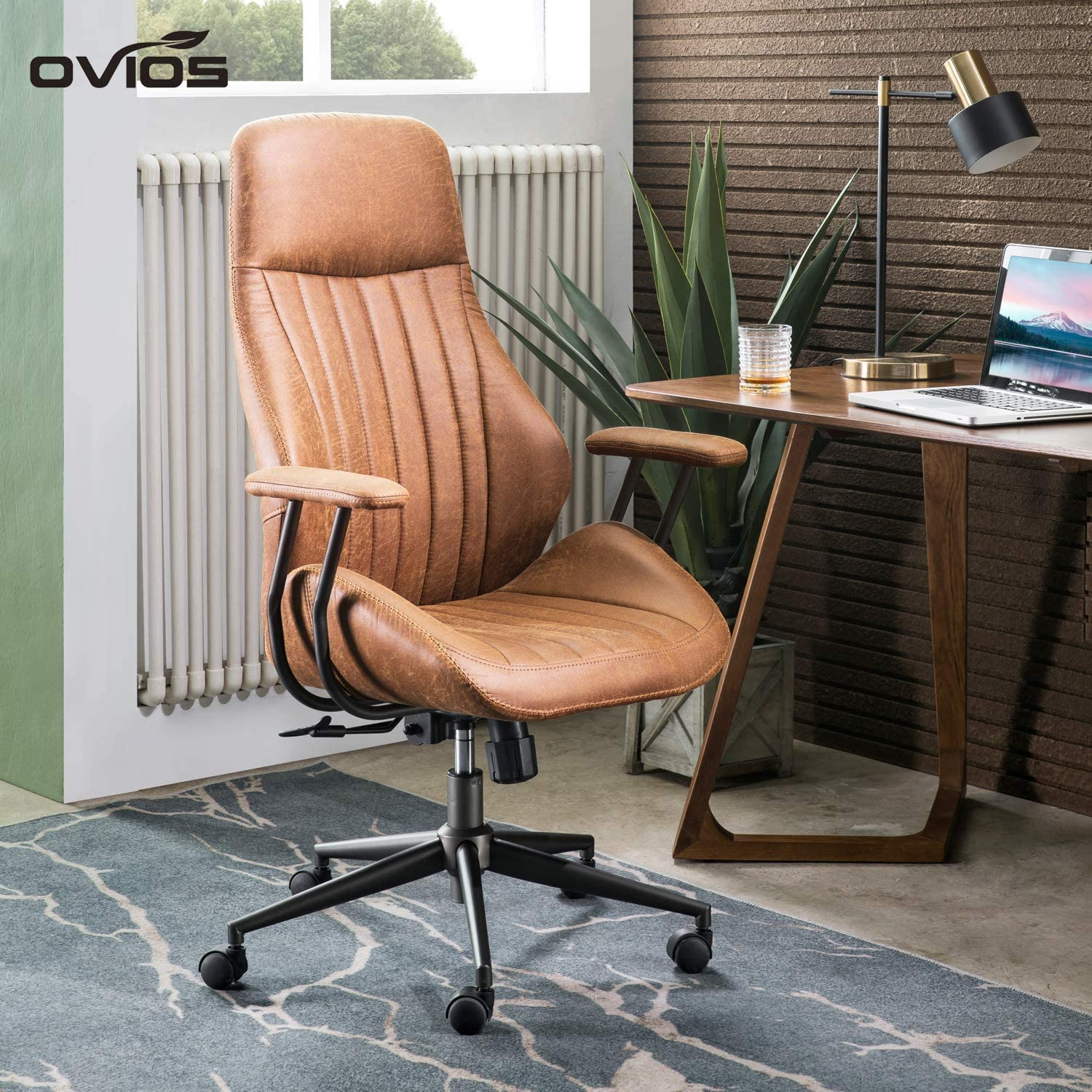 OVIOS Ergonomic Office Chair,Modern Computer Desk Chair,high Back Suede Fabric Desk Chair with Lumbar Support for Executive or Home Office (Light Brown)