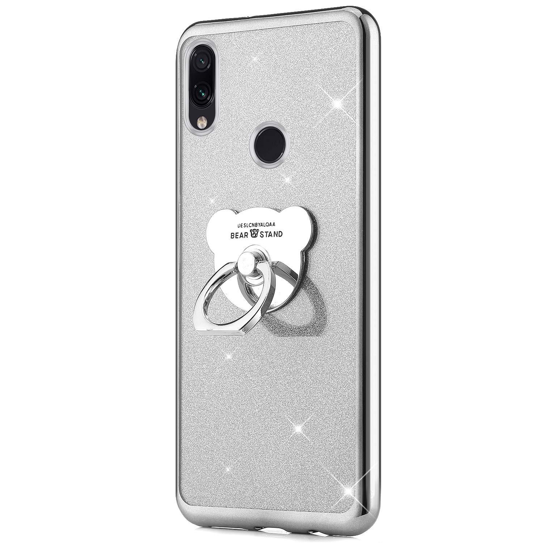 Herbests Kompatibel mit Xiaomi Redmi Note 7 H/ülle Glitzer M/ädchen Schuzh/ülle Bling Glitzer Strass Diamant Transparent TPU Silikon Handyh/ülle Tasche mit B/är Ring Halter St/änder,Rose Gold