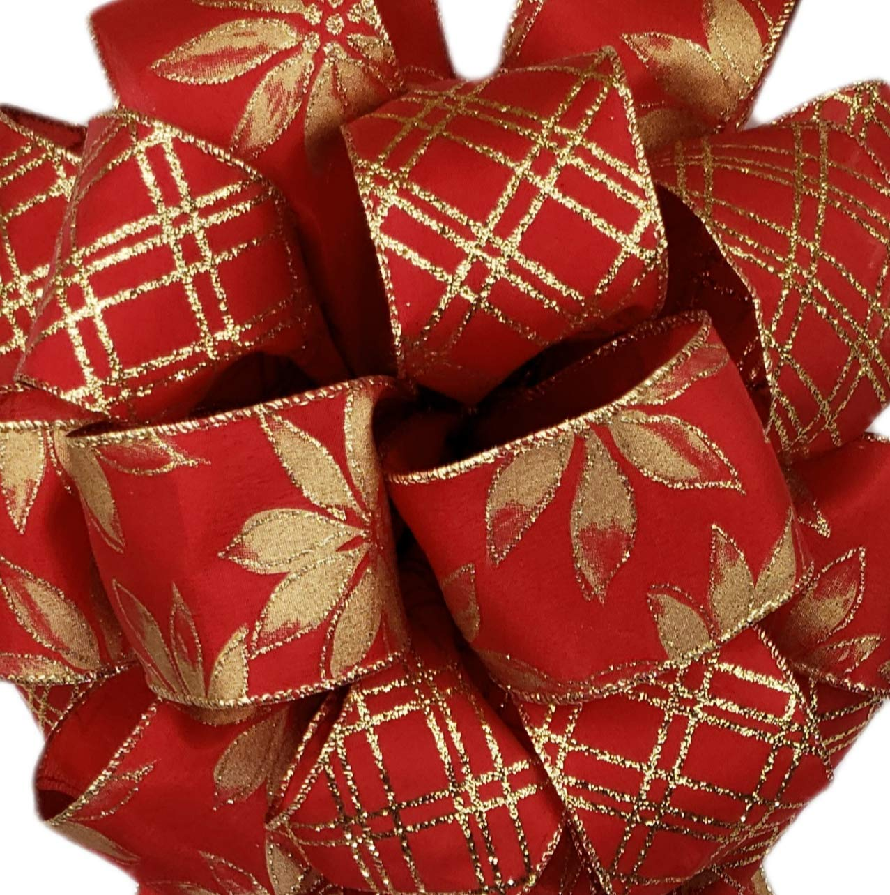 Red Gold Poinsettia Christmas Tree Topper Bow Gift Banister Fireplace Door Decoration 12x30 inch