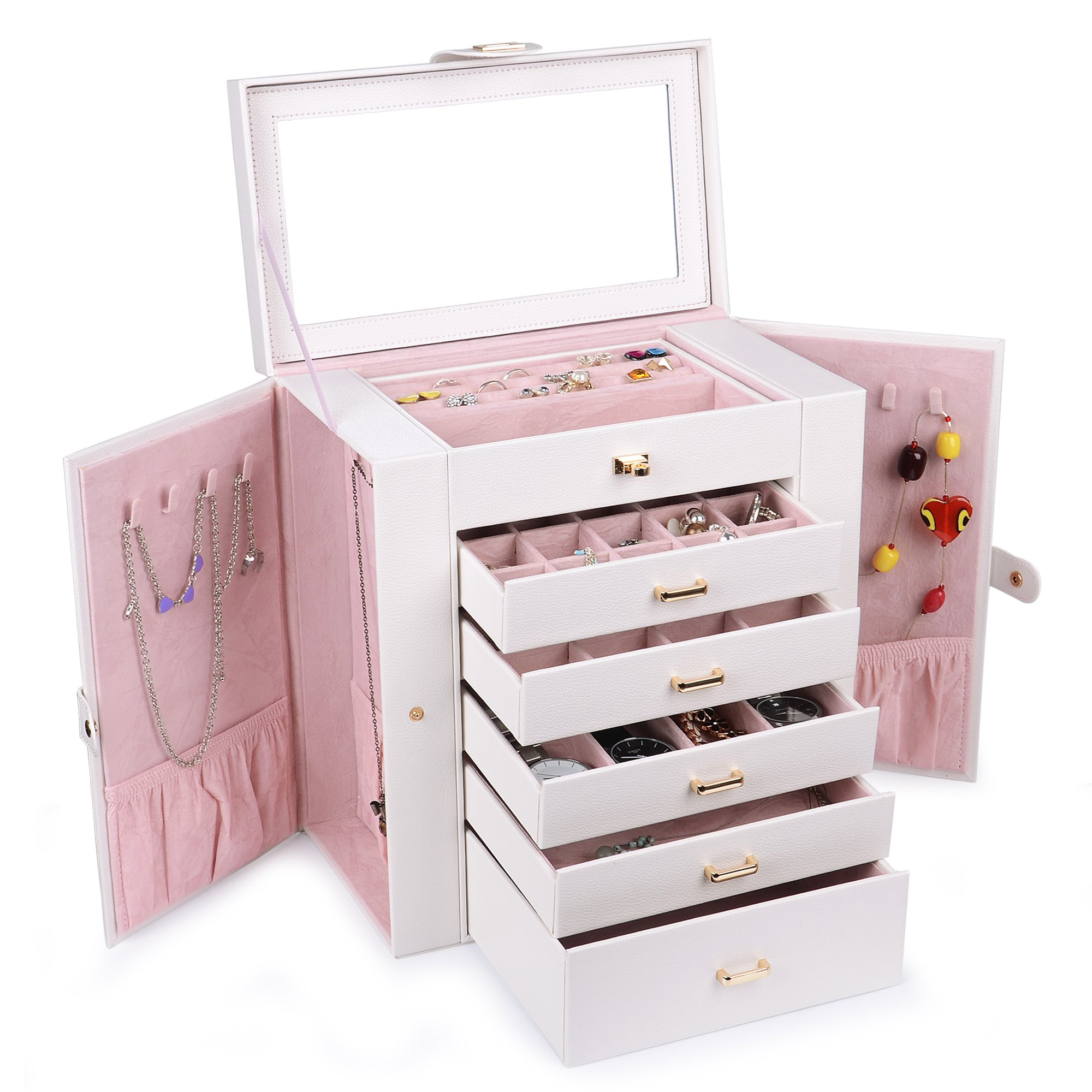 Kendal Huge Leather Jewelry Box/Case/Storage LJC-SHD5CM (White)