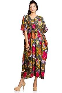 e63258c837 Women Kaftan Dress Floral Indian Boho Maxi Gown One Size Plus Caftan Dress