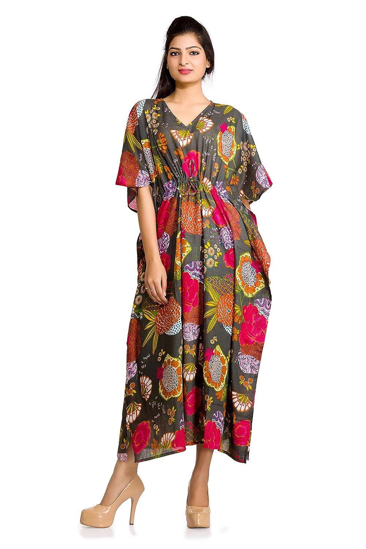51fd1cf5b1 Women Kaftan Dress Floral Indian Boho Maxi Gown One Size Plus Caftan Dress  at Amazon Women's Clothing store: