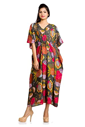 Women Kaftan Dress Floral Indian Boho Maxi Gown One Size Plus Caftan Dress Gray